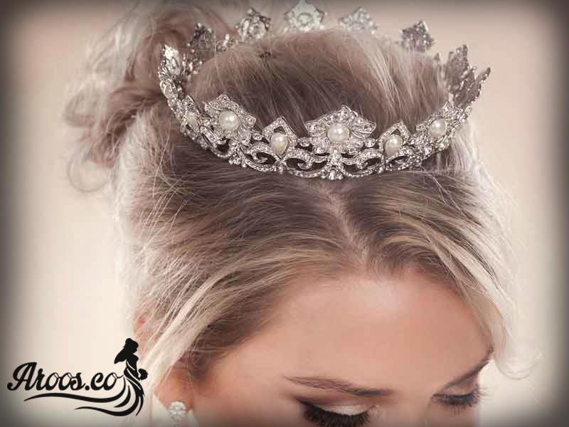 مدل موی عروس با تاج و تور بسیار جذاب و زیبا