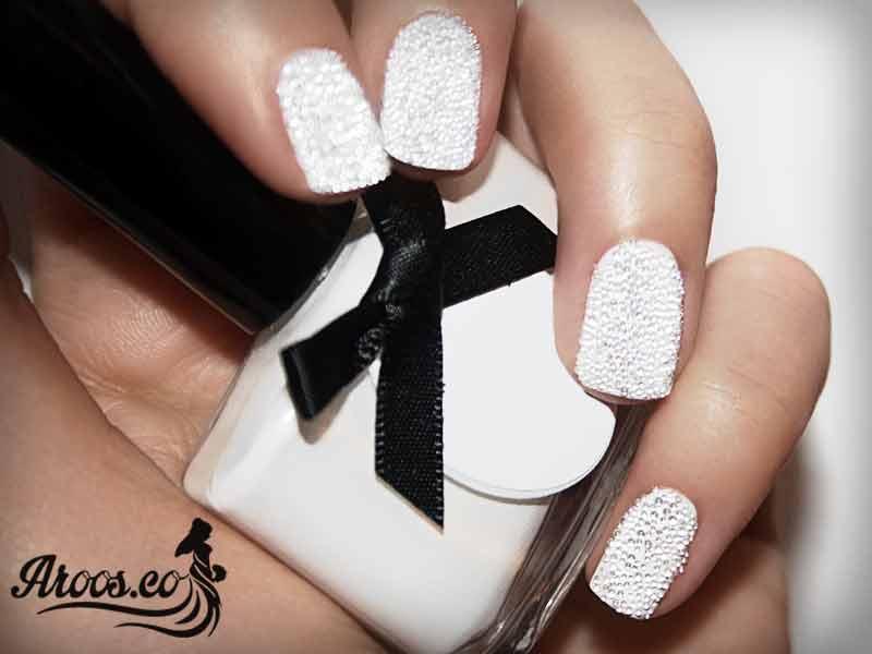 طراحی ناخن سفید عروس
