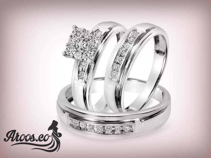 ست حلقه ازدواج نگین دار