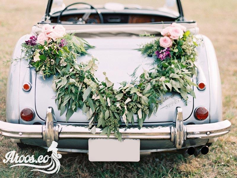تزیین ماشین عروس خارجی با گل خوشگل