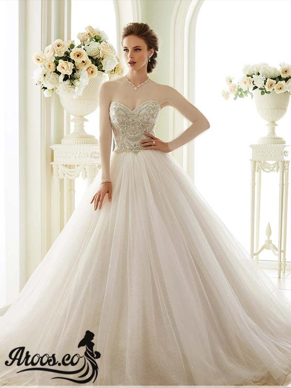 لباس عروس یقه پرنسسی شیک و جذاب
