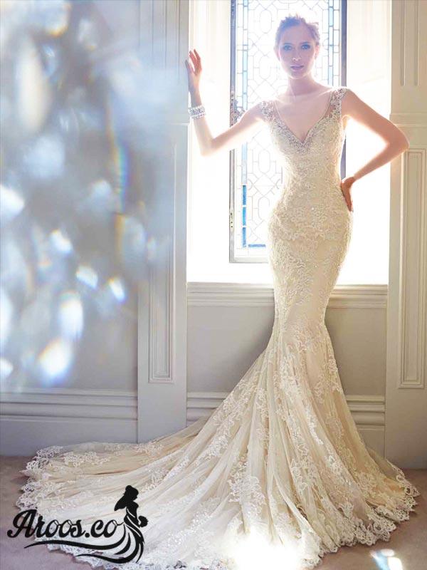 لباس عروس - دکلته، ماهی، دانتل، دنباله دار