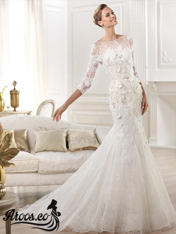 مدل لباس عروس آستین دار دانتل و سنگ دوزی