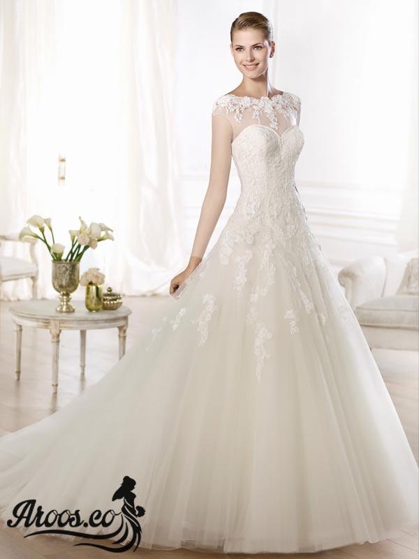 مدل لباس عروس پرنسسی دنباله دار