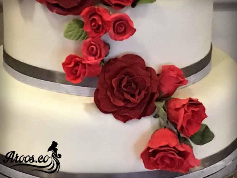 کیک عروسی با تزیین فوندانت